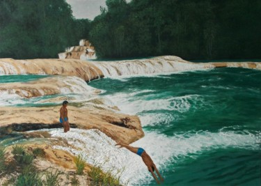 """Painting titled """"The Divers"""" by Livia Doina Stanciu, Original Art, Oil Mounted on Stretcher frame"""