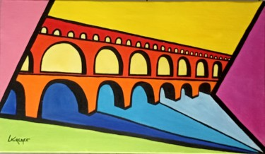"""Painting titled """"PONT DU GARD"""" by Laurence Lbn, Original Art, Acrylic"""