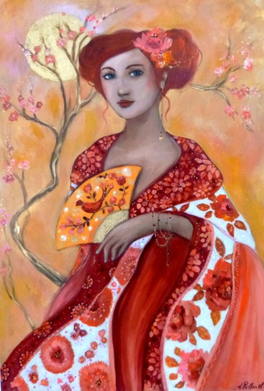 """Painting titled """"Le jardin jaune"""" by Pillault, Original Art, Acrylic Mounted on Stretcher frame"""