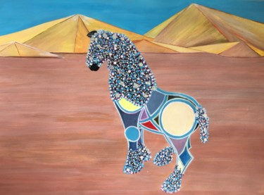Desert Painting, acrylic, expressionism, artwork by Lola Èlysèes