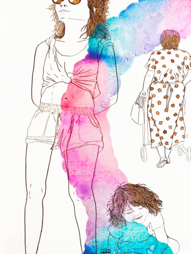 """Drawing titled """"The ages of life"""" by Laure Maniere, Original Art, Watercolor"""