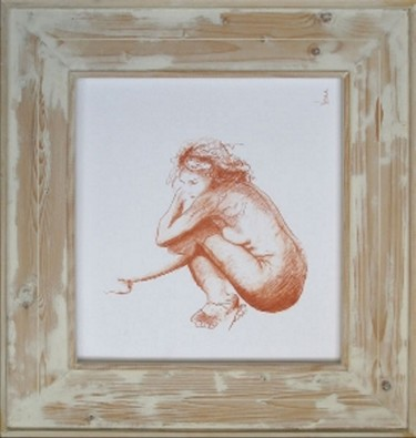 """Drawing titled """"sanguine 2"""" by Jean-Yves Verne, Original Art, Conté Mounted on Other rigid panel"""