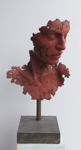 """Sculpture titled """"buste rouge mat"""" by Jean-Yves Verne, Original Art, Cement Mounted on artwork_cat."""