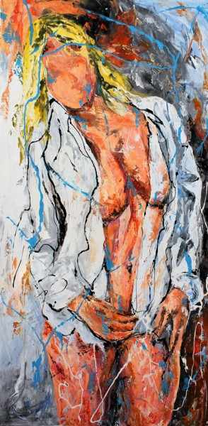 Feminine Painting, lacquer, figurative, artwork by Jean-Luc Lopez