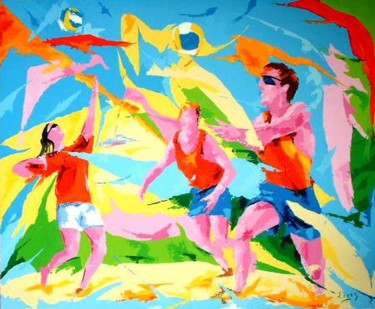"""Painting titled """"Beach volley"""" by Jean-Luc Lopez, Original Art, Oil"""