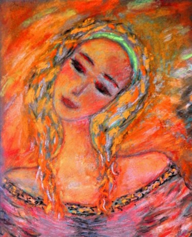 """Painting titled """"Smile in August"""" by ▪▪ Lorenzina B ▪▪, Original Art, Pastel Mounted on Other rigid panel"""