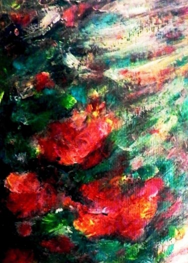 """Painting titled """"Flowers Bathed in R…"""" by ▪▪ Lorenzina B ▪▪, Original Art, Acrylic"""
