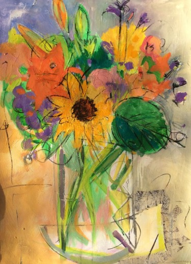 """Painting titled """"Day 16, floral arra…"""" by Lori Solymosi, Original Art, Acrylic"""