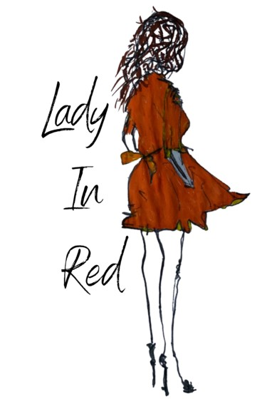 """Drawing titled """"Lady In RED"""" by Louise Louise Morales, Original Art, Ballpoint pen"""