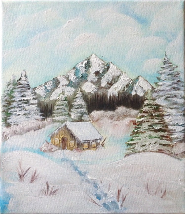 """Painting titled """"Cottage in the snow…"""" by Ľubomír Kurpel, Original Art, Oil"""