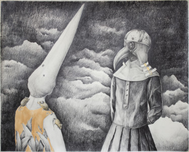 """Drawing titled """"The Plaque"""" by Lucian Szekely-Rafan, Original Art, Pencil"""