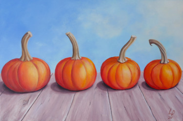 """Painting titled """"Pumpkins Talking"""" by Lucy Sodel, Original Art, Acrylic"""