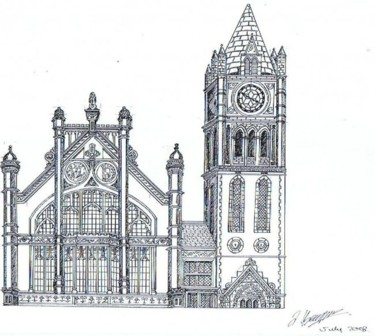 """Drawing titled """"Victorian Gothic"""" by Lucy Beveridge, Original Art, Other"""