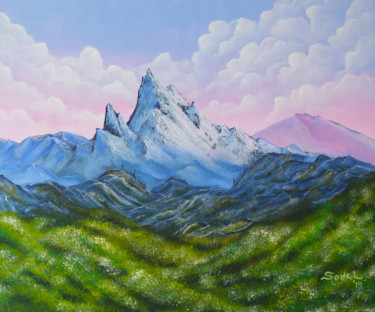 Mountainscape Painting, acrylic, impressionism, artwork by Lucy Sodel
