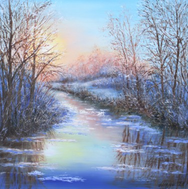 """Painting titled """"Winter landscape #3"""" by Ludmilla Ukrow, Original Art, Oil"""