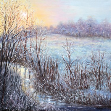 """Painting titled """"Winter landscape #5"""" by Ludmilla Ukrow, Original Art, Oil"""