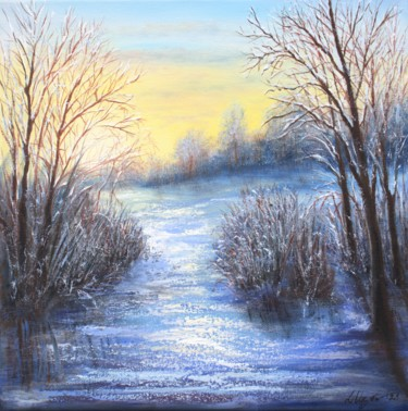 """Painting titled """"Winter landscape #6"""" by Ludmilla Ukrow, Original Art, Oil"""