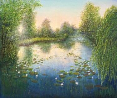 Countryside Painting, oil, impressionism, artwork by Ludmilla Ukrow