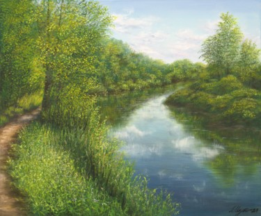 """Painting titled """"Water landscape """"Sa…"""" by Ludmilla Ukrow, Original Art, Oil"""