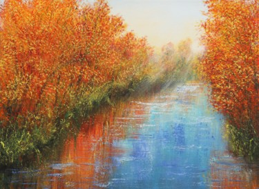 """Painting titled """"Autumn river"""" by Ludmilla Ukrow, Original Art, Oil"""