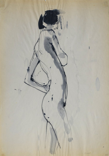 Nude Drawing, ink, expressionism, artwork by Ludovic Michaux (Ludom)