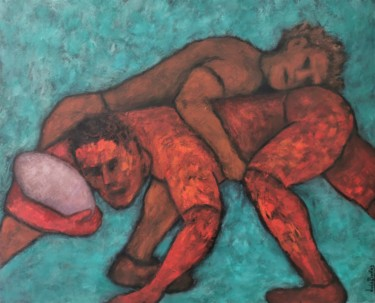 Rugby Painting, acrylic, figurative, artwork by Luís Bastos