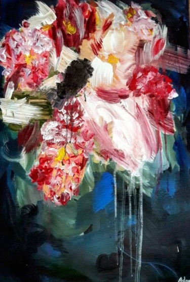 """Painting titled """"Abstract flower"""" by Lukas Adami, Original Art, Acrylic"""