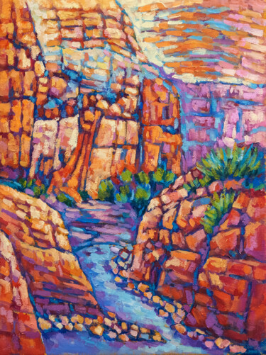 """Painting titled """"Canyon under the sun"""" by Tao Bai, Original Art, Oil"""