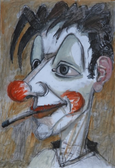 """Painting titled """"Clown with cigarette"""" by Lubomir Tkacik, Original Art, Oil"""