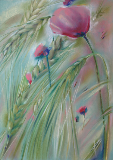 """Painting titled """"Poppies in ears of…"""" by Людмила Чупина, Original Art, Pastel"""