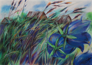 """Painting titled """"The time of the blu…"""" by Людмила Чупина, Original Art, Pastel"""