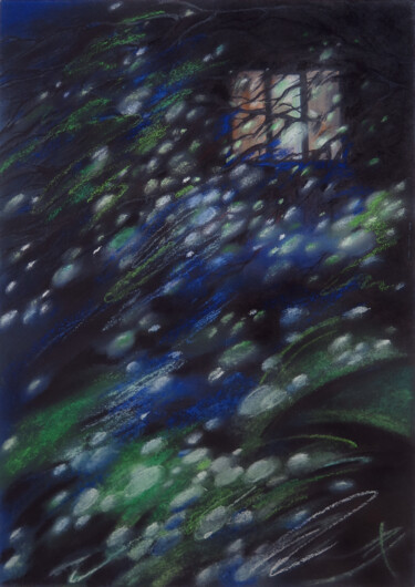 """Painting titled """"The window in the n…"""" by Людмила Чупина, Original Art, Pastel"""
