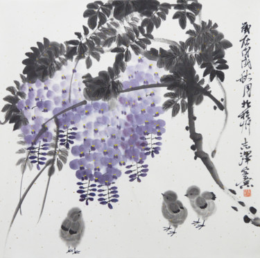 """Painting titled """"Spring is blooming"""" by 志泽 吕, Original Art, Pigments"""