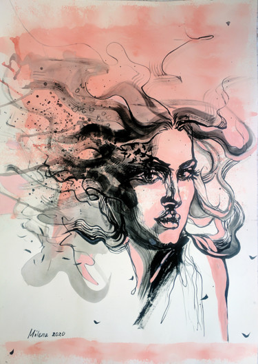 """Drawing titled """"Thoughts 2"""" by Milena Dimitrova, Original Art, Ink"""