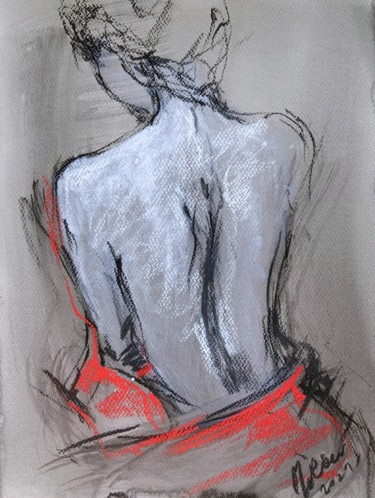 """Painting titled """"Female Body Sketch"""" by Magdalena Weber, Original Art, Charcoal"""