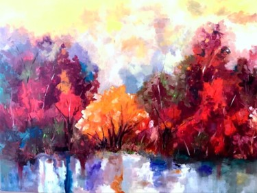"""Painting titled """"Central Park New Yo…"""" by Frederick Lyle Morris, Original Art, Oil"""