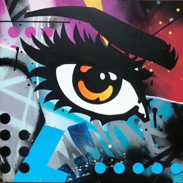 """Painting titled """"The 3rd eye."""" by Machone, Original Art, Spray paint Mounted on Stretcher frame"""