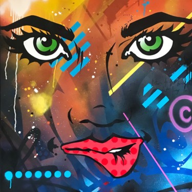 """Painting titled """"Eyes on me."""" by Machone, Original Art, Spray paint Mounted on Stretcher frame"""