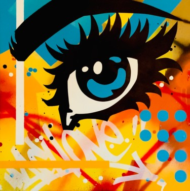 """Painting titled """"One eye on..."""" by Machone, Original Art, Spray paint Mounted on Stretcher frame"""