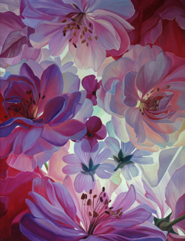 """Painting titled """"Pink peonies in the…"""" by Илья Жерняк (Magicofcolour), Original Art, Oil"""