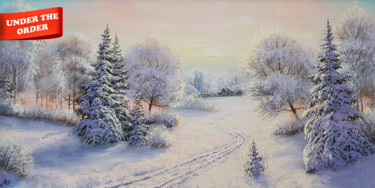 """Painting titled """"Winter path to the…"""" by Илья Жерняк (Magicofcolour), Original Art, Oil"""