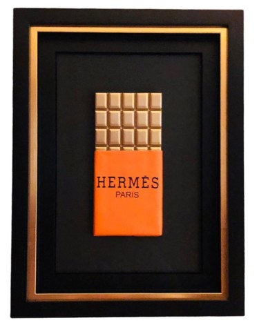 """Sculpture titled """"Chocolate Box Hermès"""" by Mahëlle, Original Art, Acrylic Mounted on Other rigid panel"""