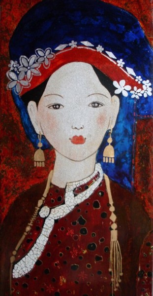 Painting, lacquer, figurative, artwork by Mai Lien Lai Thi
