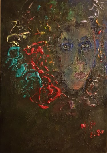 """Painting titled """"LA FILLE AUX CHEVEU…"""" by Abdelmajid Ouriad, Original Art, Acrylic"""