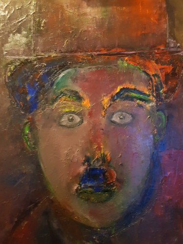 """Painting titled """"CHARLIE CHAPLIN"""" by Abdelmajid Ouriad, Original Art, Oil"""