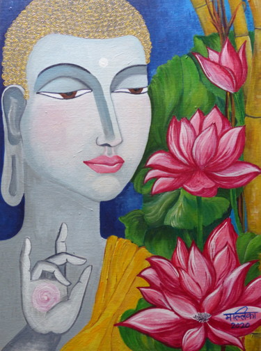 """Painting titled """"Peace and enlighten…"""" by Mallika Seth, Original Art, Acrylic"""