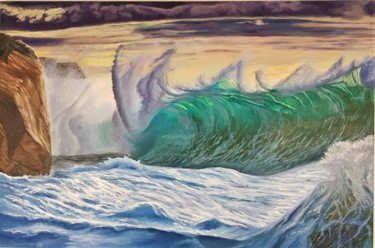 """Painting titled """"And waves sometimes…"""" by Mantas Naulickas, Original Art, Oil"""