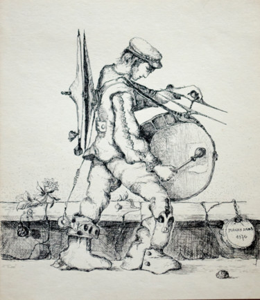 """Drawing titled """"Drummer-1"""" by Mandy Sand, Original Art, Pencil"""