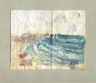 """Painting titled """"Sea view"""" by Mandy Sand, Original Art, Watercolor"""