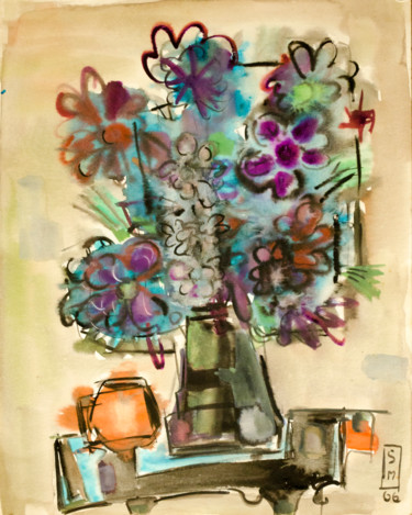 """Painting titled """"Vase with purple fl…"""" by Mandy Sand, Original Art, Watercolor"""